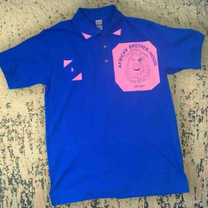 African Brotherhood Polo (pink on blue)
